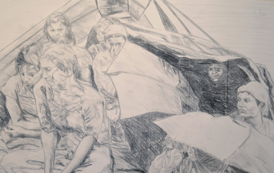 Guerrilla drawings not to forget too easily about refugees and guerrilla problems - Jupiterfab