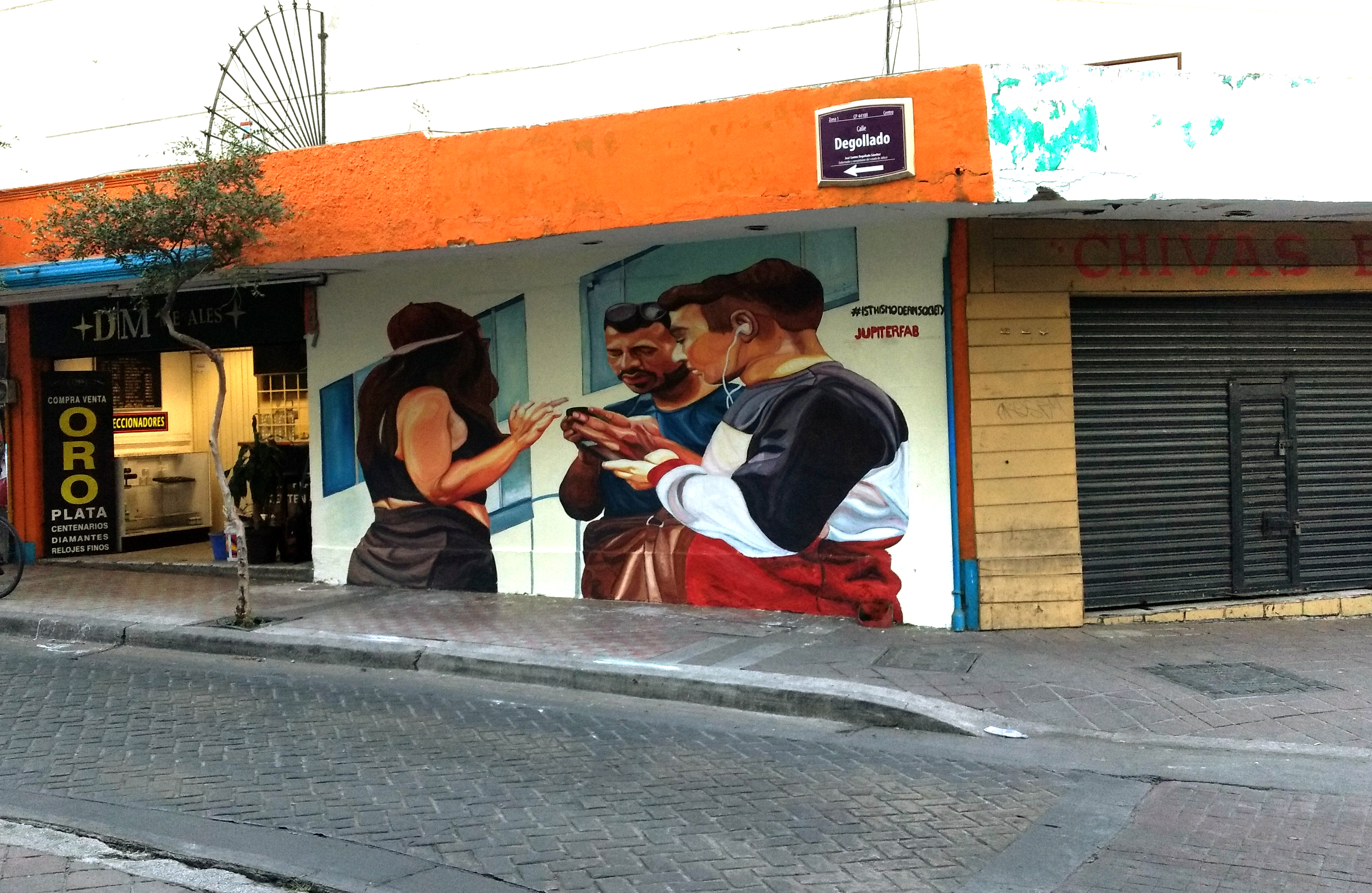 Mural about technology abuse in Guadalajara, Mexico