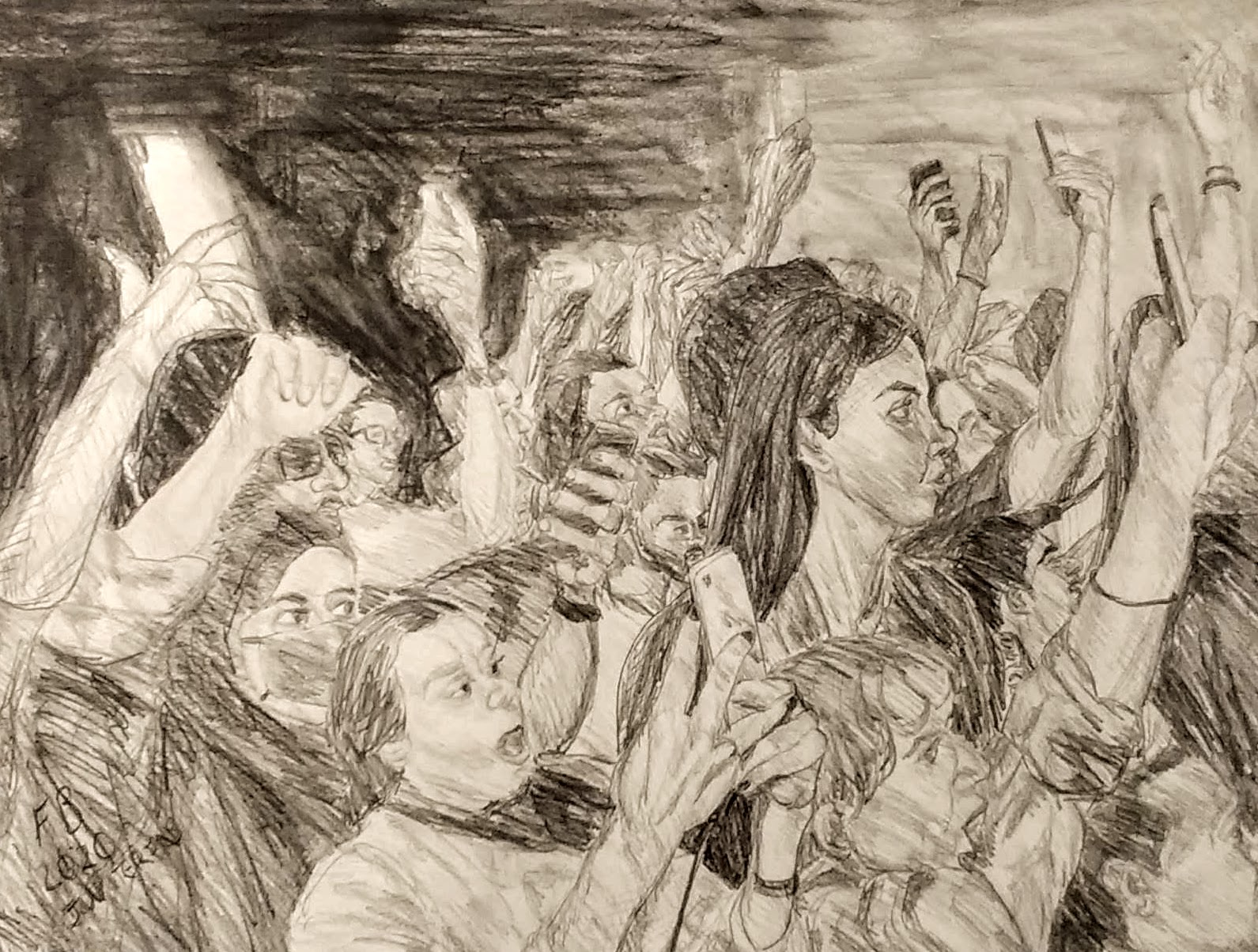 2020 at the concert 50x 65 cm acrylic and pencil on paper